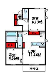 D-room阿恵IIB棟[1階]の間取り