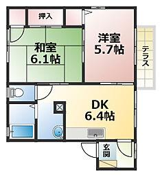 兵庫県神戸市灘区灘北通2丁目の賃貸アパートの間取り