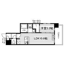 (仮称)谷山駅前マンションM棟 2階1LDKの間取り