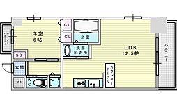 Osaka Metro御堂筋線 西中島南方駅 徒歩2分の賃貸マンション 13階1LDKの間取り