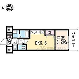 THE GARNET MILLENNIUM KYOTO九条烏丸502 5階1DKの間取り