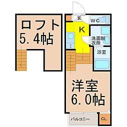 名古屋市営東山線 高畑駅 徒歩6分の賃貸アパート 1階1SKの間取り
