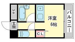 兵庫県神戸市長田区御船通1丁目の賃貸アパートの間取り