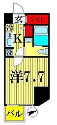 都営新宿線 西大島駅 徒歩4分の賃貸マンション 12階1Kの間取り