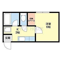 JR紀勢本線 宮前駅 徒歩12分の賃貸アパート 2階1Kの間取り