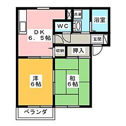 サングレイスD[1階]の間取り