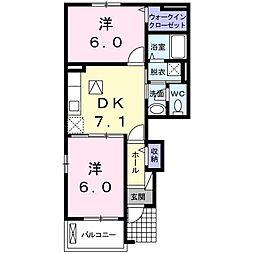 東京都清瀬市中里3丁目の賃貸アパートの間取り