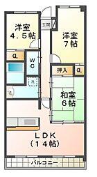滋賀県大津市仰木の里3丁目の賃貸マンションの間取り