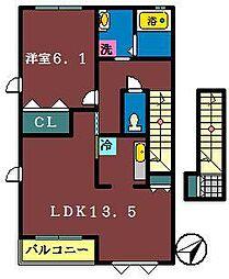 千葉県鎌ケ谷市北中沢3丁目の賃貸アパートの間取り