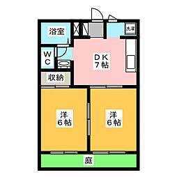 コーポ下石田III[1階]の間取り