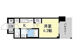 エステムコート新大阪13ニスタ 9階1Kの間取り