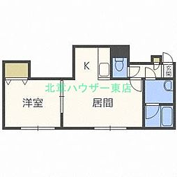 北海道札幌市東区北十三条東6丁目の賃貸アパートの間取り
