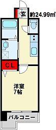Bergamotto片野駅前 9階1Kの間取り