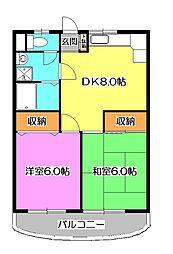 東京都東久留米市南沢3丁目の賃貸マンションの間取り