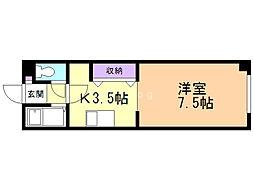 ITマンションかがやき 4階1Kの間取り