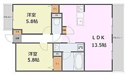 JR播但線 京口駅 徒歩8分の賃貸マンション 1階2LDKの間取り