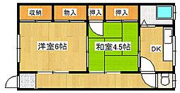 兵庫県神戸市垂水区坂上5丁目の賃貸アパートの間取り