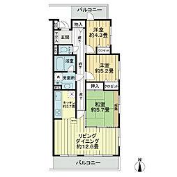 ライオンズマンション谷塚第2[3階]の間取り