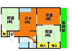 岡山県岡山市南区大福の賃貸アパートの間取り