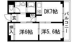兵庫県宝塚市中山桜台5丁目の賃貸マンションの間取り