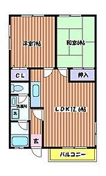 石川ベルメゾンB棟[2階]の間取り