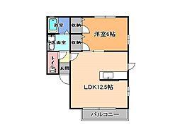 ラ・プランドールA[1階]の間取り