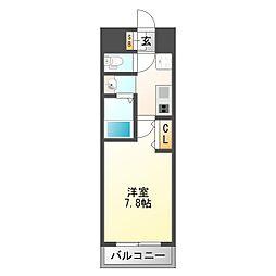 プランドール新大阪NORTHレジデンス 7階1Kの間取り