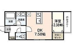 広島電鉄宮島線 楽々園駅 徒歩19分の賃貸アパート 3階1DKの間取り