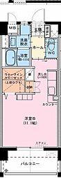 (仮称)江平中町マンション 6階ワンルームの間取り