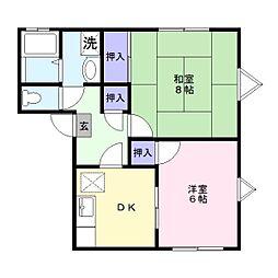 埼玉県加須市旗井1丁目の賃貸アパートの間取り