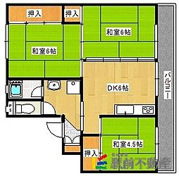 ビレッジハウス大木2号棟[1階]の間取り