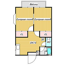 ブルーハイツタナカ2[1階]の間取り