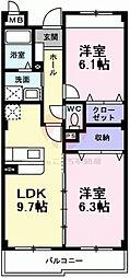 インヴィテ・ボヌールII番館 2階2DKの間取り