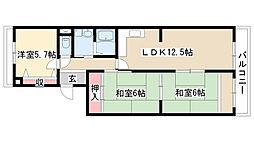 愛知県名古屋市天白区島田黒石の賃貸マンションの間取り