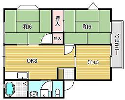 大阪府高槻市明野町の賃貸アパートの間取り