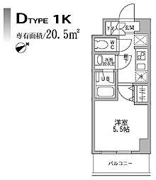 パークフラッツ横濱平沼橋 2階1Kの間取り