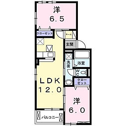 兵庫県神戸市北区藤原台南町2丁目の賃貸アパートの間取り