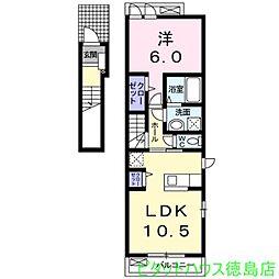 徳島県徳島市新浜町2の賃貸アパートの間取り