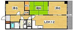 大阪府枚方市桜丘町の賃貸マンションの間取り