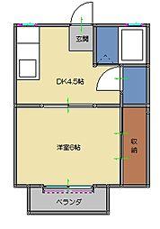 桜橋フィルハイツ[202号室]の間取り
