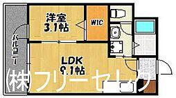 福岡県福岡市博多区山王2丁目の賃貸マンションの間取り