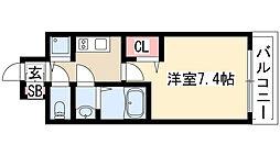 プレサンス栄ブリオ 5階1Kの間取り