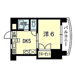 ラ・コルダ 2階1DKの間取り