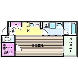 兵庫県神戸市灘区琵琶町3丁目の賃貸マンションの間取り