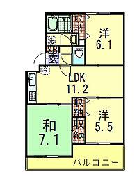 サンフィールド松戸[2階]の間取り