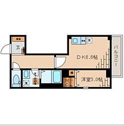 東京メトロ東西線 高田馬場駅 徒歩4分の賃貸マンション 3階1DKの間取り