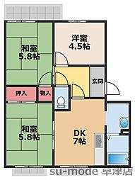 DENSHII西浦[2階]の間取り