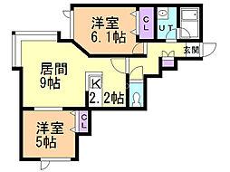 メゾン・プロヴァンスII 2階2LDKの間取り