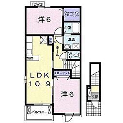 フレアルーチェ神埼 2階2LDKの間取り