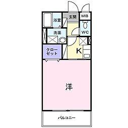 ボナール新中町[104号室]の間取り